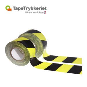 Gul-sort Stribet afspærringsbånd TapeTrykkeriet.dk