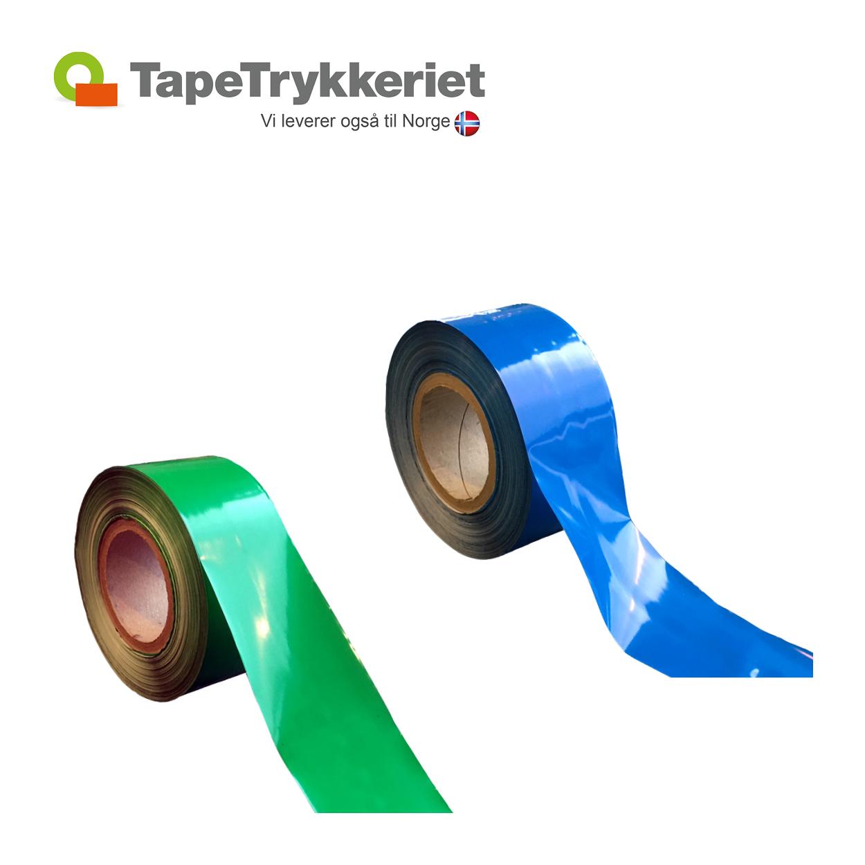 Blå og grøn afspærringsbånd. TapeTrykkeriet.dk
