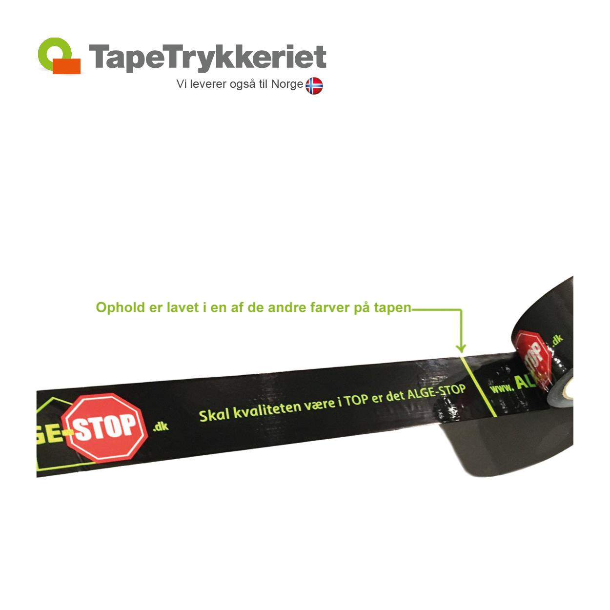 Tape med farvet ophold i bundfarve. TapeTrykkeriet.dk