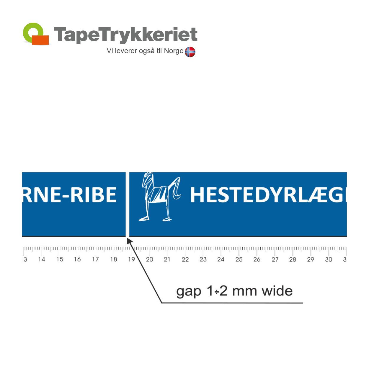 Tape med ophold i bundfarven ved negativ tryk. TapeTrykkeriet.dk
