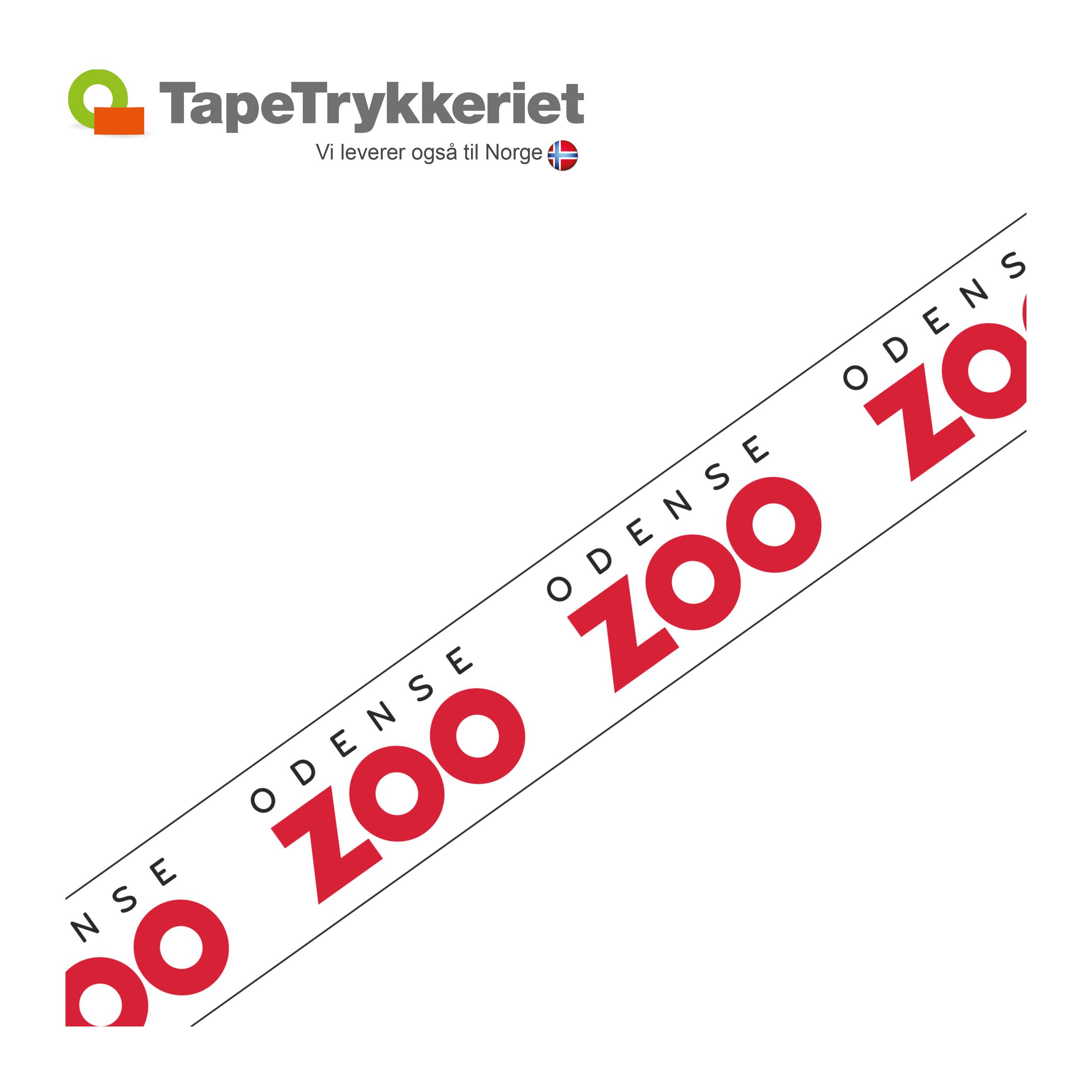 Afspærringsbånd med logo, 75mm x 500m. TapeTrykkeriet.dk