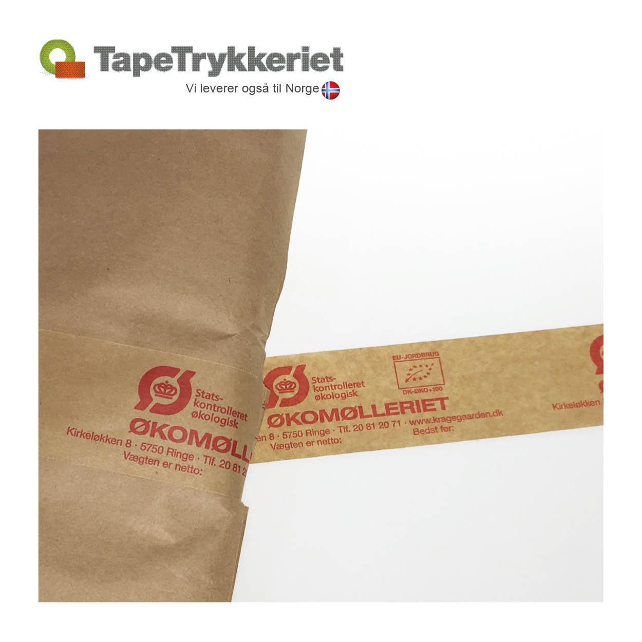 Papirtape med tryk. TapeTrykkeriet.dk